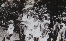 Standing back row: Cambria Williams (husband of Emma), Marge W. Wilson, Tissie Whetstone, Emma Whetstone Williams (wife of Cambria), holding Camey Jr, Frank Knowles and Grace Knowles (husband and wife). Children Dat Williams, Thelma Whetstone, Alex Whetstone, below is Chuck Knowles, Jean Knowles. Standing left: Doris Wilson.